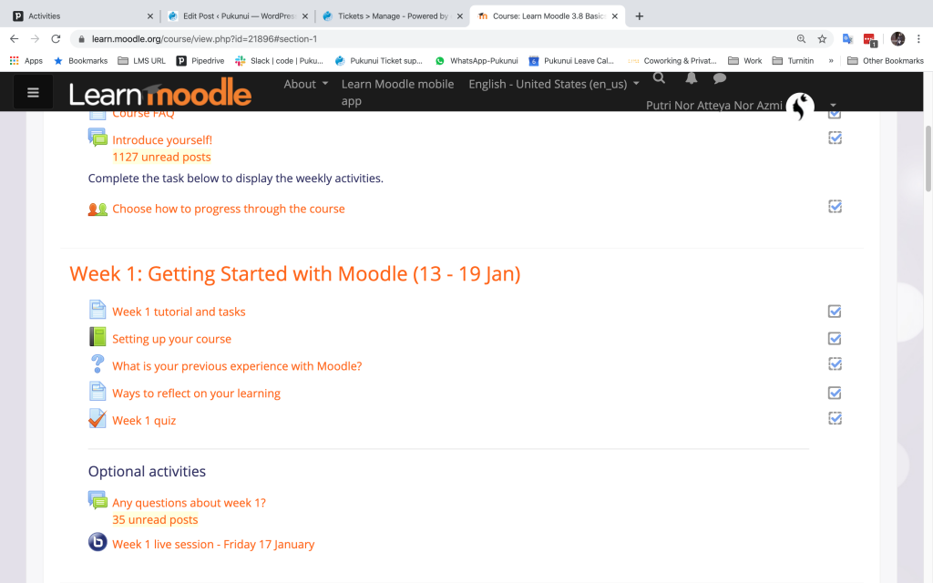 Week 1 Learn Moodle 3.8 Basics