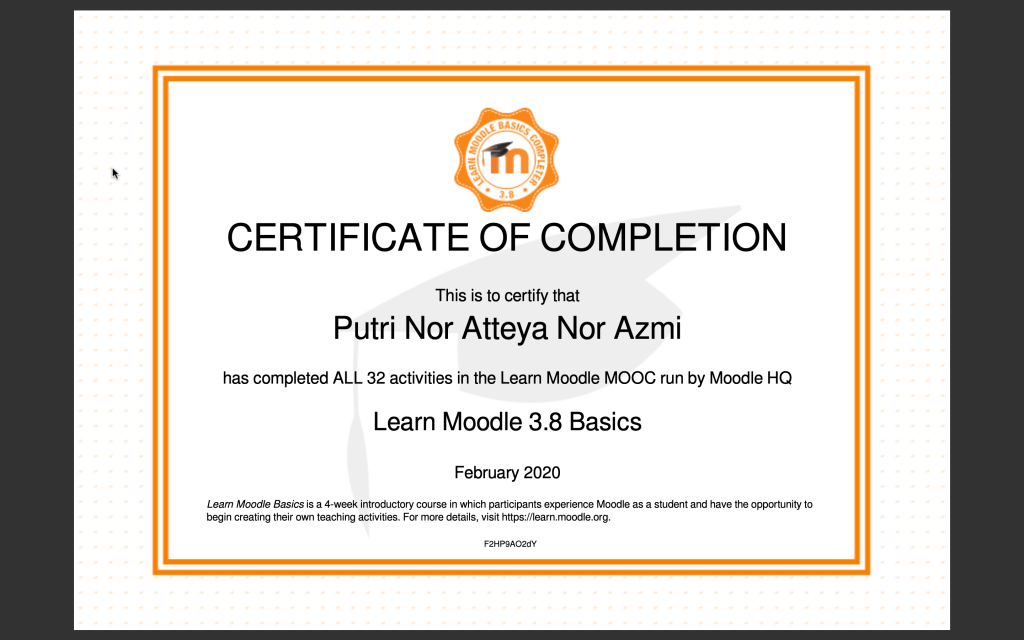 Learn Moodle 3.8 Basics Certification of Completion