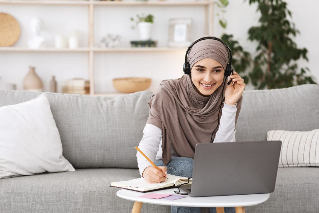 lady working and online learning from home